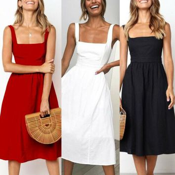 Womens Holiday Strappy Sexy Sleeveless A Line Ladies Summer Beach Midi Swing Party Sun Dress Solid 3 Colors