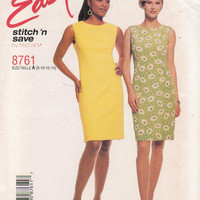 Pattern for easy semi-fitted, sleeveless sheath dress knee length, jewel neckline  misses size 8 10 12 14 McCall's Stitch n Save 8761 UNCUT