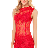 Lace Applique Sheer Dress in Red