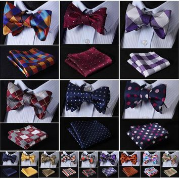 ONETOW Check Polka Dot Silk Jacquard Woven Men Butterfly Self Bow Tie BowTie Pocket Square Handkerchief Hanky Suit Set G5