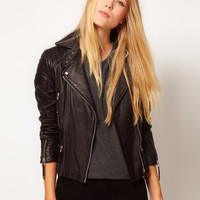 Whistles Marlon Quilted Leather Jacket at asos.com