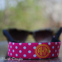 Sunglasses Wrap - Pink Polka Dot Yellow Circle Monogram