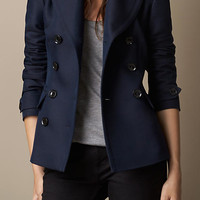 Double-Breasted Pea Coat with Pleat Detail