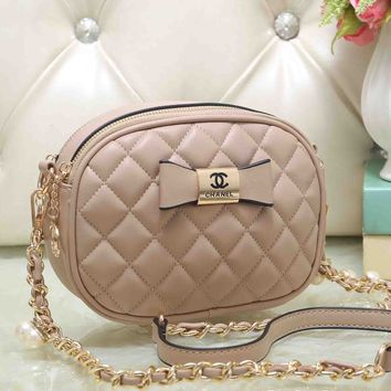 Chanel Cute Bow Mark PU&Metal Shoulder Bag Women Girl Small Round Bag B-OM-NBPF Apricot