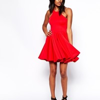 Oh My Love Full Skater Dress With Racer Detail -