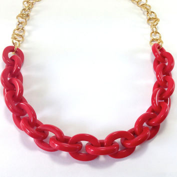 Chunky Red Necklace, Acrylic chain necklace, Resin Link Necklace, Long Acrylic necklace