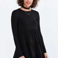 BDG Knit Tiered Long-Sleeve Mini Dress - Urban Outfitters