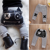 Cute Kids Baby Boys Girls Bottoms Monster Harem Pants Casual Trousers Baby Boy Pants 0-2Y