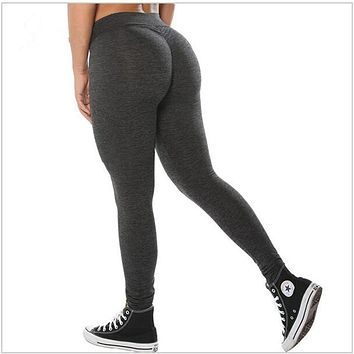 Women Push Up Leggings Casual Workout Black Polyester Fitness Legging High Waist Leggings Jeggings Women