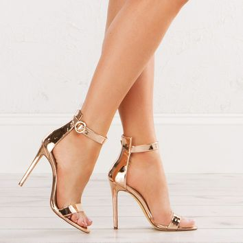 Ankle Strap Heeled Sandals in Rose Gold