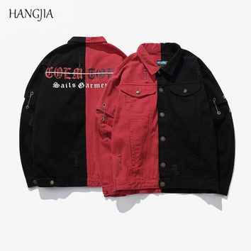 Denim Jacket Men 2018 Streetwear Hip-Hop Jacket Patchwork Mixed Color Gothic Letters Vintage Patch Holes Mens Jackets and Coats