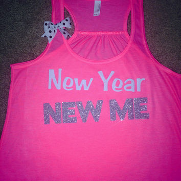 New Year New Me - Neon pink - Ruffles with Love - Racerback Tank - Womens Fitness - Workout Clothing - Workout Shirts with Sayings