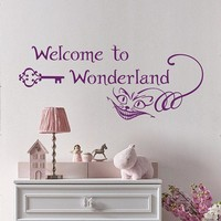 Welcome to Wonderland Wall Decal Alice in Wonderland Stickers Cheshire Cat Smile Vinyl Decal Nursery Home Decor B681