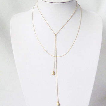 double strand lariat necklace, dainty gold layered necklace,Y necklace, lariat necklace