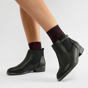 New Look Wide Fit Flat Leather Look Ankle Boot at asos.com
