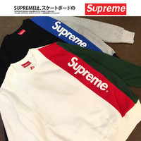 """Supreme"" Unisex Hoodies With Pocket Pullover Round-neck Jacket [9361197895]"