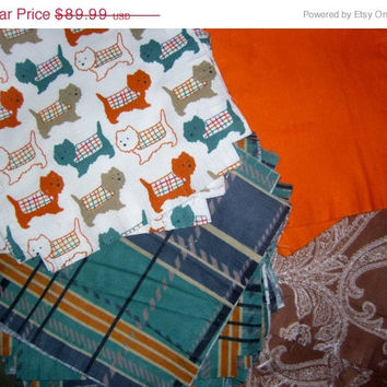 Flannel rag quilt kit terrier dog and Plaid fringed die cut fabric squares and batting ready to sew