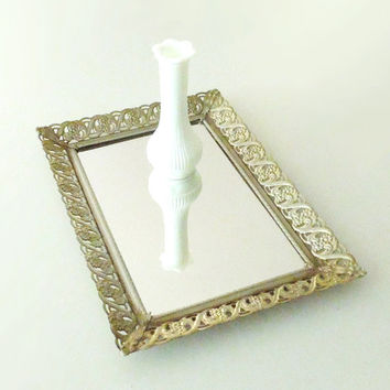 Rectangular vintage mirror vanity tray with open-work frame - Dresser-top tray bathroom decor perfume tray jewelry tray