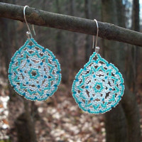 Mandala Beaded Huichol Earrings,Ocean Landscape,Aqua Blue