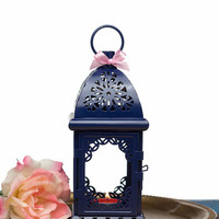 Navy Blue Moroccan Lantern/ Exotic Candle Holder/ Nautical Wedding Lanterns/ Navy Blue decor/ Metal Candle Holder/ Wedding Lighting