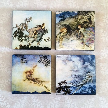 Arthur Rackham Art Ceramic Tile Magnets 2x2 Inches Set of Four for Refrigerator, Fridge, Cubicle Decor, Dorm Decor, Magnet Board