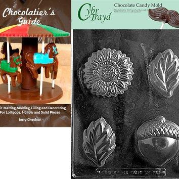 """Cybrtrayd """"Acorn/Sunflower and Leaf Mold"""" Fruits and Vegetables Chocolate Candy Mold with Chocolatier's Guide"""