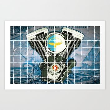 Traditional Portuguese Tile Biker Style Art Print by Tony Silveira
