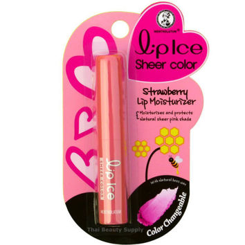 Mentholatum Lip Ice Sheer Color Pink Tinted Strawberry Lip Moisturizer Balm