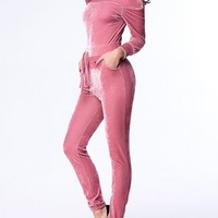 Casual Off Shoulder Velvet Slit Pocket Plain Slim-Leg Jumpsuit