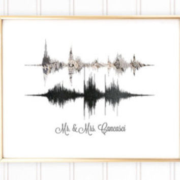 Custom Voice Art Print, Voice Wave Print, Sound Wave Art, Valentines Day Gift, Gift for Her, Gift for Him, Boyfriend Gift, Gift for Wife