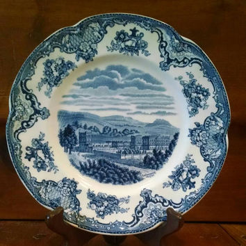 Vintage Johnson Bros Old Britain Castles Salad Plate, White and Blue Transferware China Dish Made in England