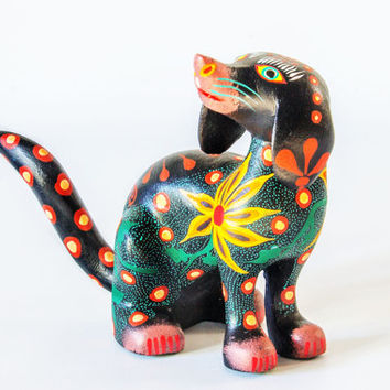 Mexican Folk Art - Wood Carving : Sweet little dog by Jose Olivera Perez