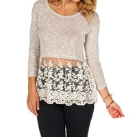 Sale-heather Gray Knit Crochet Top