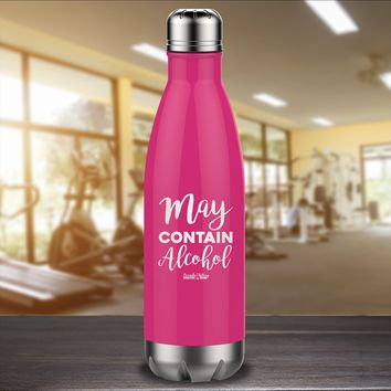 May Contain Alcohol Laser Etched Water Bottle