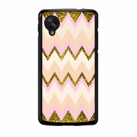 Gold Pink Chevron Nexus 5 Case