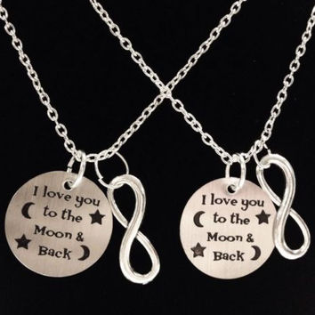 2 Necklaces Infinity I Love You To The And Back Best Friends Couples Sister