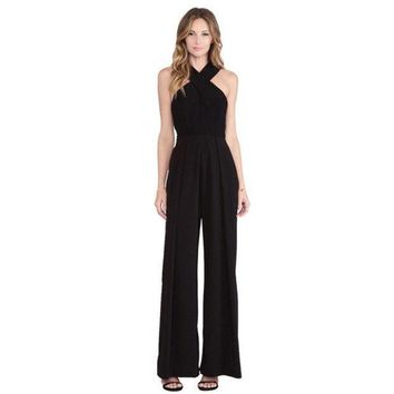 Women's Apparel Sexy Overalls Wide Legged Pants Trousers Suspenders = 1838458308