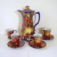Art Nouveau Chocolate Teapot and Cup Set Hand Painted Nippon Noritake