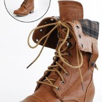Amazon.com: Jetta25 Combat Back Zip Mid Calf Boots WHISKY: Shoes