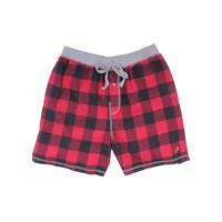 Melange Buffalo Check Flannel Boxer in Red by True Grit