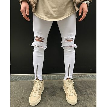 2017 new hot sell men jeans with knee zipper men's ripped biker jeans Distressed skinny jeans for male white pants street design