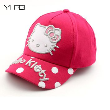 YIFEI 100%cotton Cartoon Hello Kitty Children Caps Sport Baseball Caps Sun Snapback Hats Unisex Boys Girls Cap Adjustable Hat