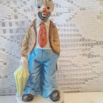 Vintage Clown Figurine holding Umbrella Retro Collectible Taiwan Home Decor