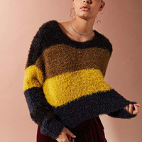 UO Fuzzy Glitter Striped Sweater | Urban Outfitters