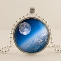 Moon and Earth, Planet, Space, Astronomy glass and metal Pendant necklace Jewelry.