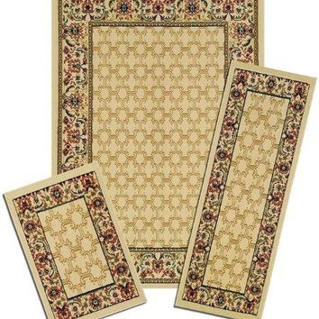 Park Avenue Collection Capri 3 Piece Rug Set - Wrought Iron Medallion