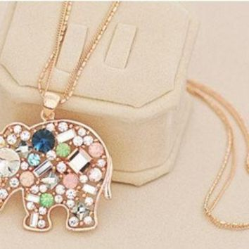 Satr Jewelry Korean Fashion Jewelry For Women New Crystal Lucky Lovely Elephant Necklace Pednat Necklase Long Chain ?¡§with Thanksgiving&christmas Gift Box??= 1946092036