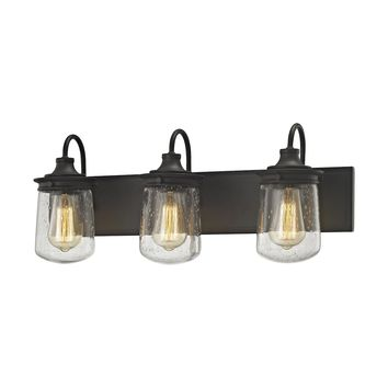Hamel 3-Light Vanity Lamp in Oil Rubbed Bronze with Clear Seedy Glass