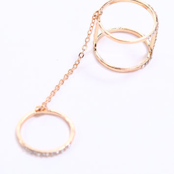 CRYSTAL CHAIN LINK BAR RING
