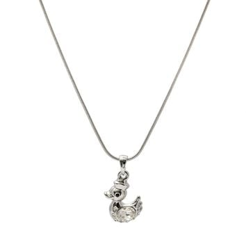 Silver Plated Crystal Duck Necklace
